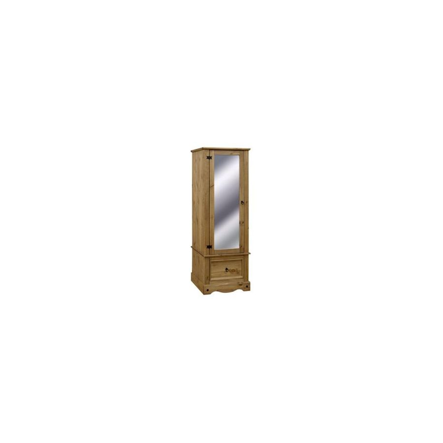 finest selection 0e29b cbbe9 Corona Rustic Waxed Pine 1 Door Wardrobe with Mirror