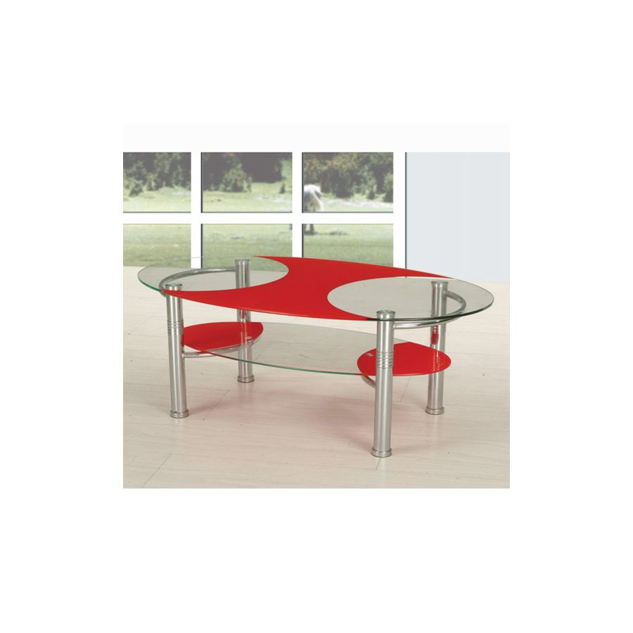 Ibis Clear And Red Glass Coffee Table