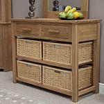 Georgia Solid Oak Basket Console Table
