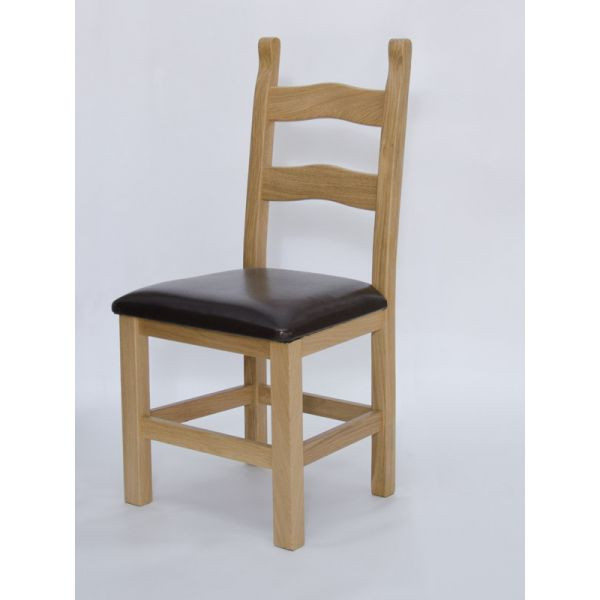 Hickory Oak/Bicast Leather Chair