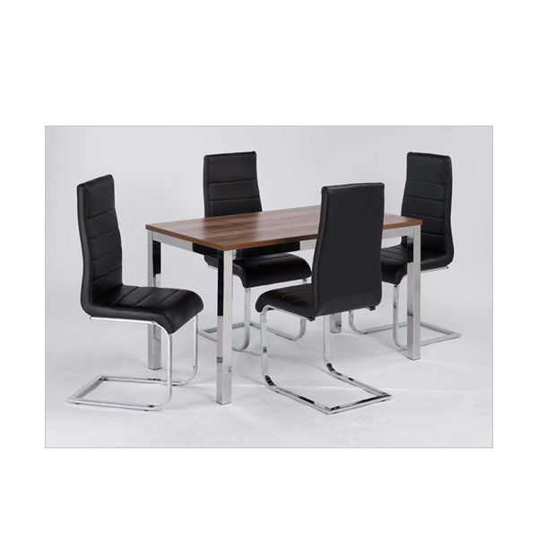 Evolve Small Dining Table featured with Evolve Black Faux Leather Dining Chairs (not included)