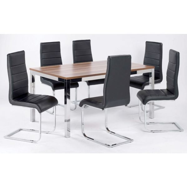 Evolve Dining Table featured with Evolve Black Faux Leather Chairs (not included)