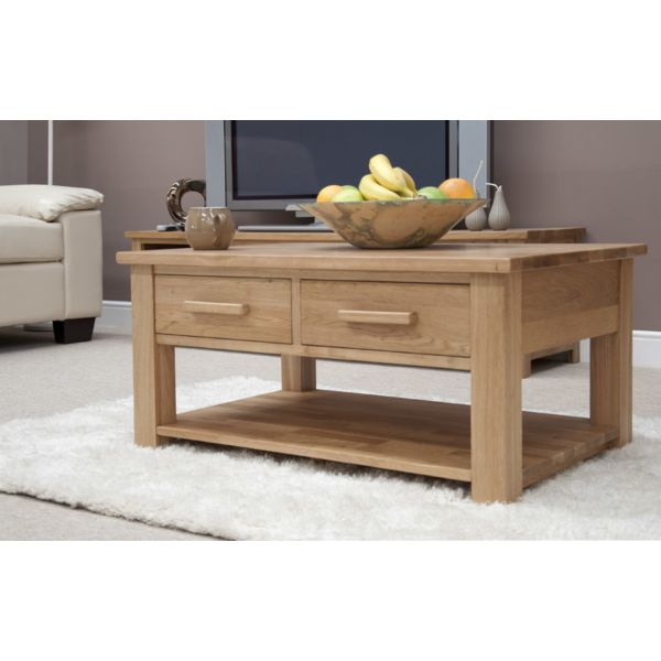 Georgia Solid Oak Coffee Table with Drawer
