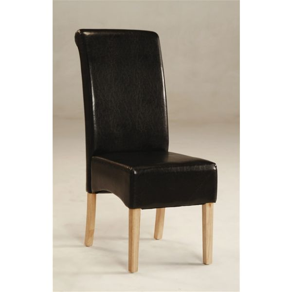 Padstow Scroll Back Brown Faux Leather Chair - Deep side shaping and effective scrolling to the tops