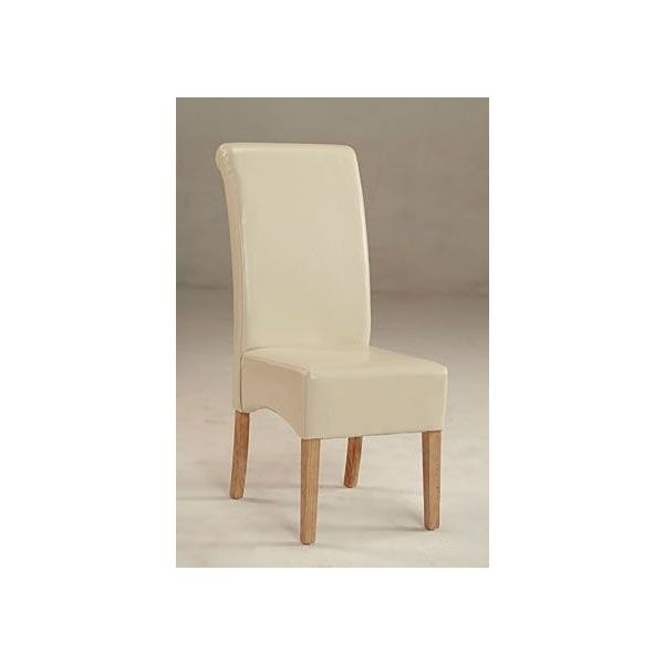 Padstow Scroll Back Cream Faux Leather Chair - Deep side shaping and effective scrolling to the tops