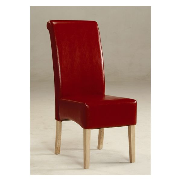 Padstow Scroll Back Red Faux Leather Chair - Deep side shaping and effective scrolling to the tops