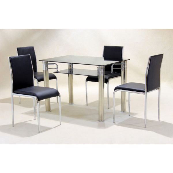 Vercelli Clear Glass Dining Set with Black Chairs