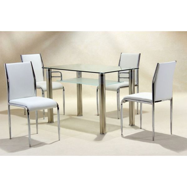 Vercelli Clear Glass Dining Set with White Chairs