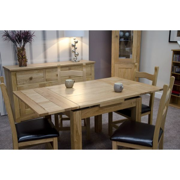 Millie Table fully extended with 'Hickory' chairs