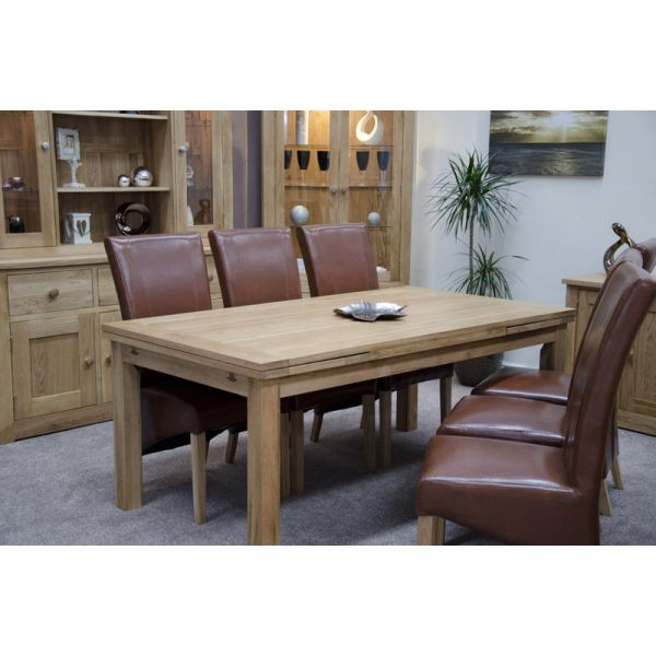 Poppy Large Panelled Draw Leaf Table with Blakely Chairs in Tan - closed position