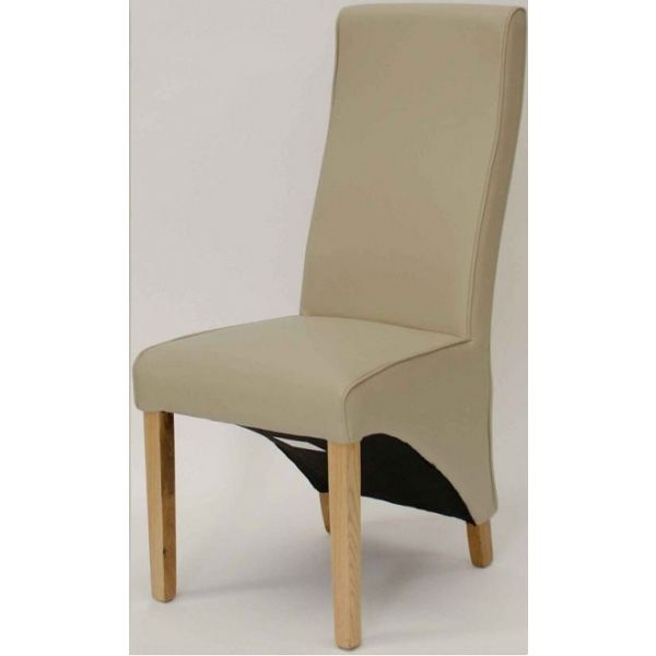 Wave Ivory Faux Leather Dining Chair