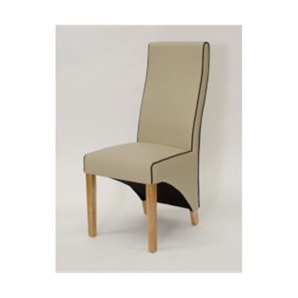 Wave Ivory with Trim Faux Leather Dining Chair
